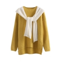 Hooded Patchwork Scarf Detail Dip Hem Long Sleeve Sweater