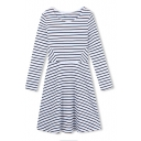 Round Neck Patchwork Waist Long Sleeve Stripes Midi Dress