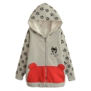 Velvet Lining Zipper Cartoon Cat Print Patchwork Coat