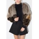 Luxury Faux Fur Patchwork Color Block Cropped Coat