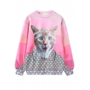 Pink Cat Print Long Sleeve Pullover Loose Sweatshirt