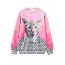 Pink Cat Print Long Sleeve Pullover Loose Sweatshirt
