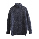 Plain Turtleneck Long Sleeve Chunky Knit Pullover Sweater