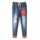 Tribal Embroidery Turn Up Drawstring Waist Washed Old Jeans