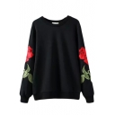 Round Neck Long Sleeve Rose Embroidery Black Sweatshirt