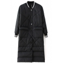 Stand Up Neck Single Breasted Quilting Longline Coat