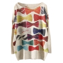 Scoop Neck Bow Print Batwing Sleeve Loose Long Sweater