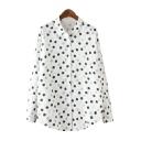 Button Down Polka Dot Long Sleeve Lapel White Shirt