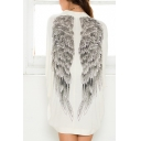 Wing Print Back Batwing Long Sleeve White Open Front Coat