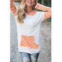 Color Block Polka Dot Hooded Long Sleeve Sweatshirt