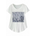 Round Neck Short Sleeve Digital Print Loose White Tee
