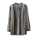 V-Neck Button Front Tribal Vertical Stripes Long Sleeve Blouse
