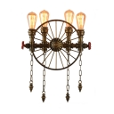 Four Lights Bronze Wheel Industrial LED Wall Lamp with Hanging Chains