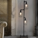 Lantern 3 Light Floor Lamp in Weathered Iron Industrial 60