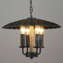 Matt Black Scalloped Shade 4 Light LED Chandelier with Rope in Industial Style
