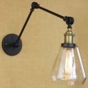 6'' Height Matte Black Clear Glass Adjustable LED Wall Lamp
