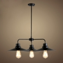 Industrial Style 3 Light LED Chandelier with Metal Shade