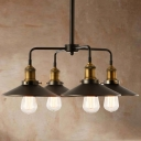 Industrial Style 4 Light 1 Tier LED Chandelier  with Metal  Shade