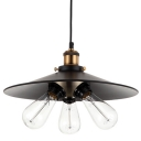 Vintage Industrial Black Metal Shade LED Pendant Kitchen 3 Light Ceiling Light