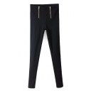 Double Zippers High Waist Stretch Plain Pants