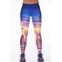 Sunset & City Print Elastic Waist Stretch Yoga Leggings