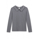 Lapel Cutout Back Long Sleeve Plain Tee