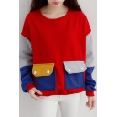Double Pockets Color Block Velvet Plus Long Sleeve Sweatshirt