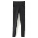 High Waist Button Detail Crisscross Back Velvet Plus Jeans