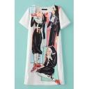 Girls Cartoon Print Round Neck Short Sleeve T-Shirt Dress
