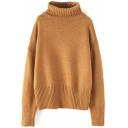 Plain Turtleneck Pullover Batwing Long Sleeve Sweater