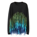 Round Neck Long Sleeve Handmade Colored Tassel Detail Sweater