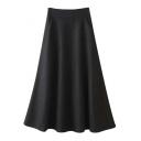 High Waist Tweed Plain Broomstick Double Pockets Skirt
