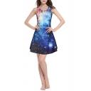 Galaxy Print Blue Sleeveless Round Neck Slim Mini Dress