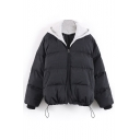 Hooded Color Block Drawstring Hem Zipper Padded Coat