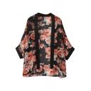 Black Hem Red Floral Print 3/4 Length Sleeve Kimono