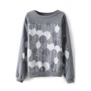 Round Neck Long Sleeve Patchwork Print Gray Sweatshirt
