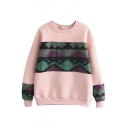 Geometric Print Tweed Patchwork Long Sleeve Color Block Sweatshirt