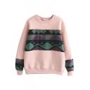 Geometric Print Tweed Patchwork Long Sleeve Color Block Sweatshirt