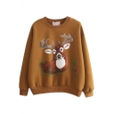 Christmas Cute Deer Print Long Sleeve Fleece Sweatshirt