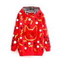 Fur Ball Detail Long Sleeve Hooded Cartoon Print Red Sweatshirt