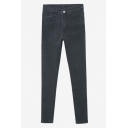 Black Zipper Fly Plain Skinny Stretch Cigarette Jeans