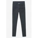 Black Zipper Fly Plain Skinny Stretch Cigarette Jeans