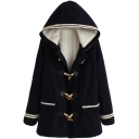 Hooded Horn Button Wool Lining Stripe Patchwork Tweed Coat