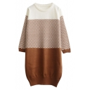 Round Neck Chevron Color Block Longline Pullover Sweater