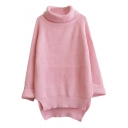 Plain Split Side Dip Hem Turtleneck Longline Sweater