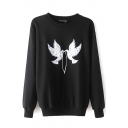 Pigeon Patchwork Round Neck Long Sleeve Black Sweatshirt