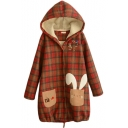 Hooded Cartoon Embroidery Plaid Wool Lining Long Tweed Coat
