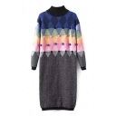 High neck Pom Pom Detail Geometric Color Block Knit Dress