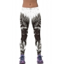 White Batman Print Elastic Print Skinny Stretch Leggings