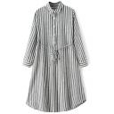 Tie Waist Lapel Button Front Vertical Stripes Shirt Dress